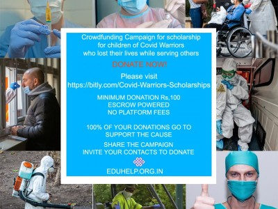 Covid Warriors scholarship for children of those who lost their lives to Covid